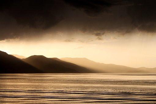 Sunset, Mountain, Landscape, Solar, Horizon Line