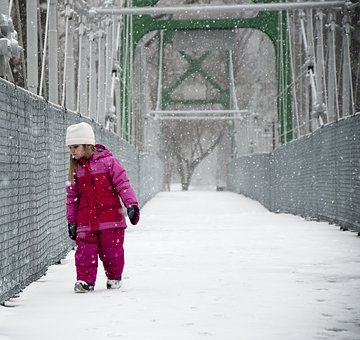 Girl, Snow, Bridge, Pink, Winter, Whit, Curious, Cold