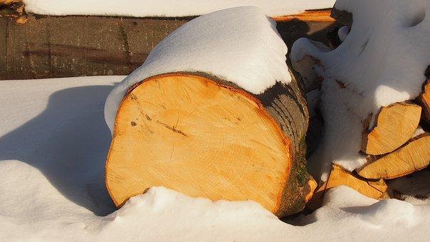Log, Wood, Snow, Firewood, Trunk, Timber, Lumber