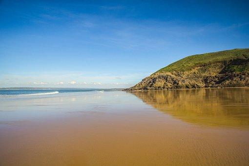 Beach, Reefs, Coast, Ocean, Low Tide, South Wales