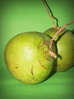 Coconut, Green, White, Fruit, Background, Milk, Fresh