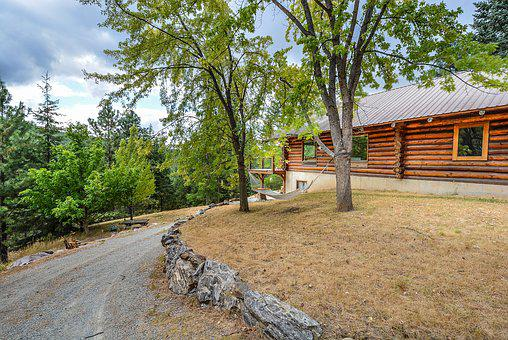 Log, Home, Cabin, Hammock, Country, Rustic, House