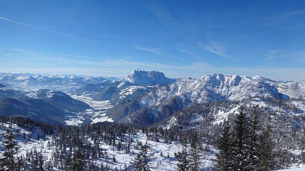 Alpine, Panorama, Austria, Winter, Steinplatte