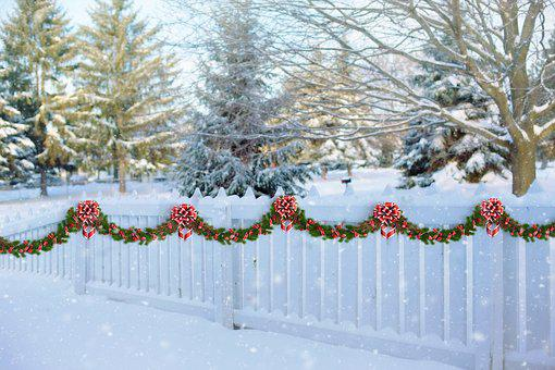 White Picket Fence, Christmas, Garland, Fence, Winter