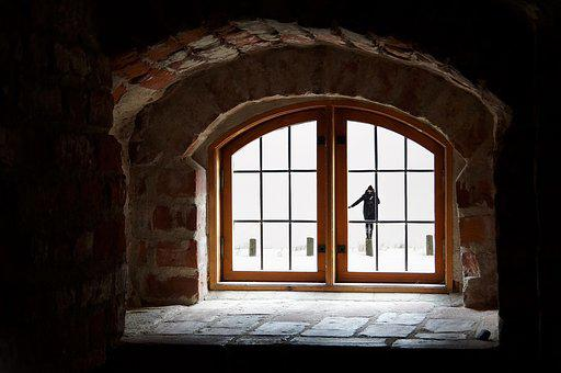 Woman, Attic, Snow, Window, Winter, Recess, Clouds