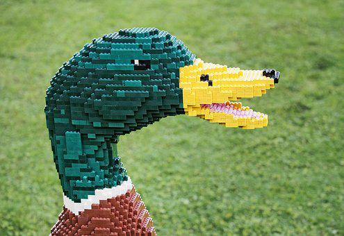 Lego, Duck, Drake, Mallard, Bird, Brick, Block, Toy