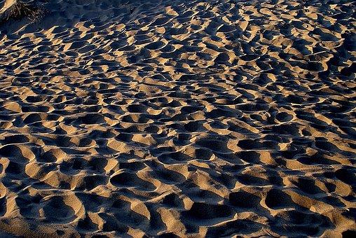 Sand, Shadows, Invoice, Footprints, Lighting, Afternoon