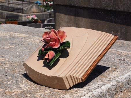 Grave Decoration, Book, Rose, Memorial Stone