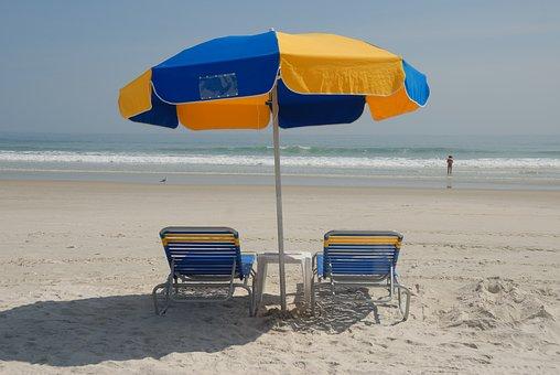 Beach Chairs, Umbrella, Beach, Ocean, Vacation, Sand