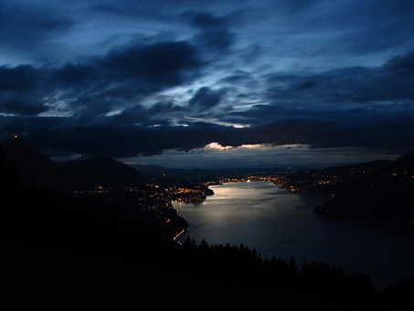 Thunersee, In The Evening, At Night, Lake, Lights