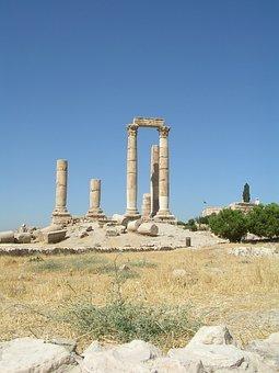 Amman, Ruins, Jordan, Citadel Hill