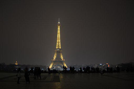 Paris, Night, Eiffel Tower, Light, People, France
