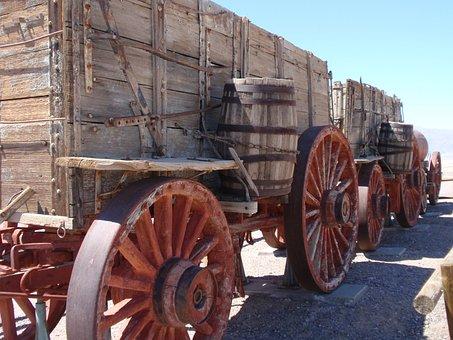 Borax Mine, Death Valley, Ca, Old, Wooden, Vagon