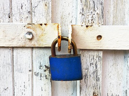 Padlock, Lock, Rust, Iron, Entrance, Metal Padlock