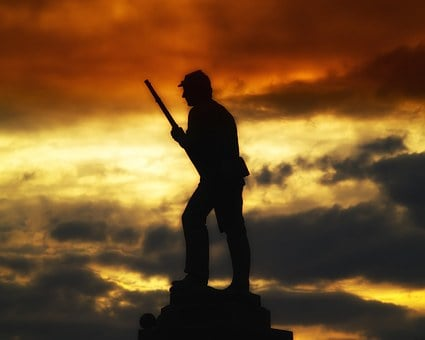 Monument, Statue, Silhouette, Sunset, Sky, Clouds