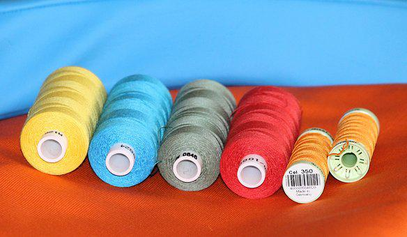Sewing Thread, Bobbin, Sew, Fabric, Color, Yellow, Red