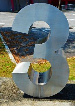 Three, Number, 3, 3d, Digit, Text, Symbol, Third, Font