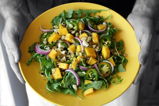 Mango Salad, Hands Holding, Arugula, Lettuce, Summer