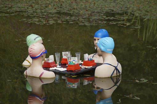Women, Talk, Gambling, Group, Swim, Swim Cap, Four