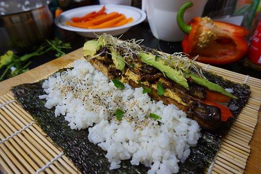 Tofu, Sushi, Eggplant, Vegan, Japanese, Food, Asian