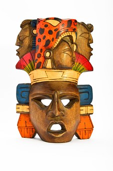 Mask, Wooden, Isolated, Carved, Painted, Indian, Aztec