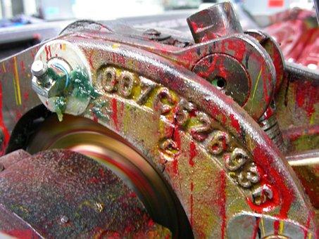Druckwerk, Printing Machine, Inking, Red, Mechanics