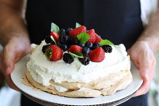 Mixed Berries, Pavlova, Pie, Cake, Sweet, Whipped Cream