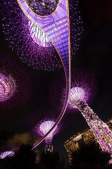 Singapore, Night, Architecture, Asia, Building