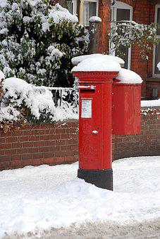 Post Box, Winter, Snow, Cold, Outdoor, White, Red