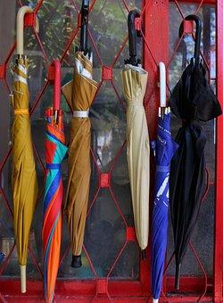 Umbrellas, Hanging, Colorful, Blue, Parasol, Rain