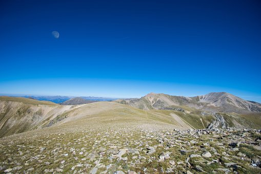 Adventure, Mountains, Stones, Sky, Blue, Moon, Distant