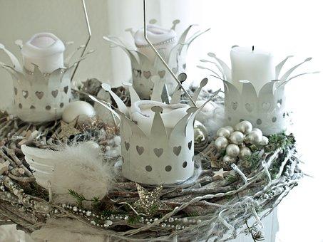 Advent Wreath, White, Christmas, X Mas