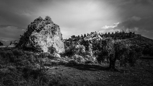 Rock, Landscape, Olive Trees, Countryside, Scenery