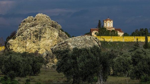 Rock, Landscape, Olive Trees, Church, Monastery