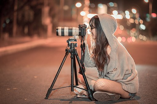 Night, Camera, Photographer, Canon, Shooting, Girl