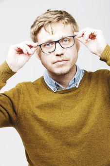 Man, Startup, Bart, Glasses, Young, Blond, Portrait