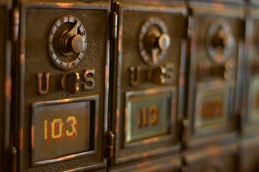 Mail Box, Us, 103, Bronze, Antique, Old, Mailing