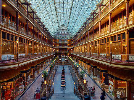 Cleveland, Ohio, Arcade, Architecture, Downtown, Usa