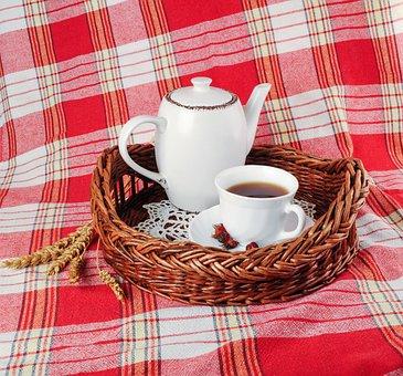 Tray, Tea, Mug, Teapot, Drink, Tablecloth, Morning