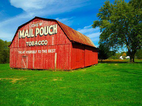 Ohio, Mail Pouch Tobacco, Red, Colorful, Landscape