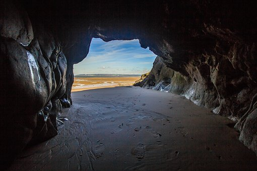 Cave, Low Tide, Beach, Ocean, Wales, England