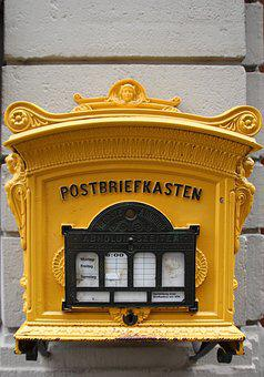 Post, Post Mail Box, Old, Yellow, Mailing, Letters