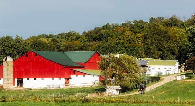 Ohio, Farm, Red, Barn, Buildings, House, Home, Silo