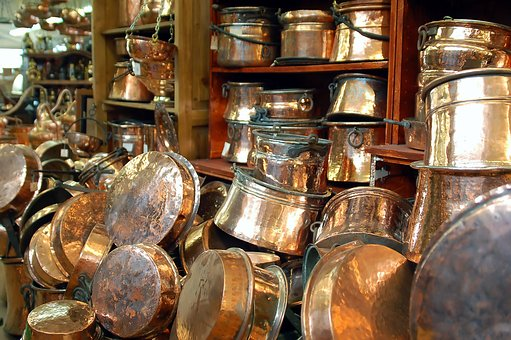 Copper, Tableware, Antiques, Old, Shop