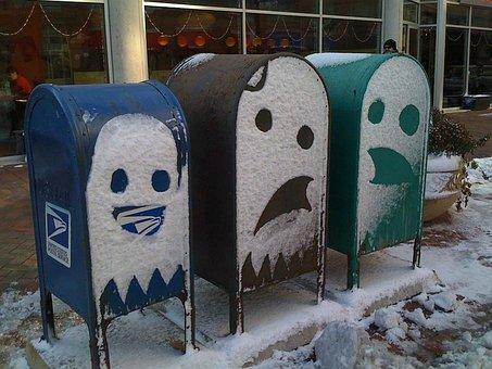 Mailbox, Mail Box, Mail, Box, Snow, Faces