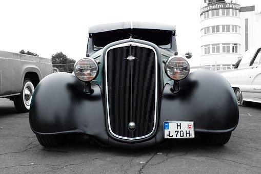 Oldtimer, Auto, Black, America, Classic, Spotlight