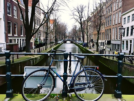 Amsterdam, Holland, Netherlands, Bicycles, Bikes, Canal