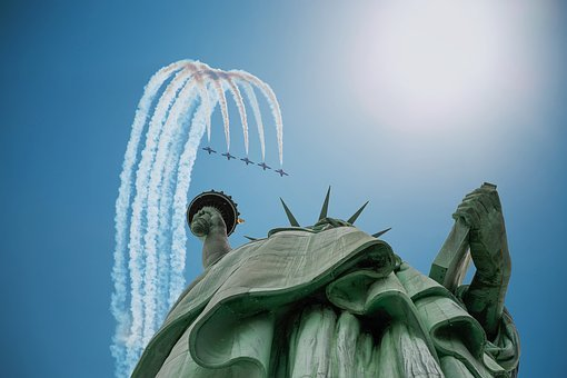 Statue Of Liberty, Planes, Jets, Formation, Loop, Fly