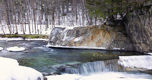 Warren Falls, Pool, Water, Natural, Winter, Nature