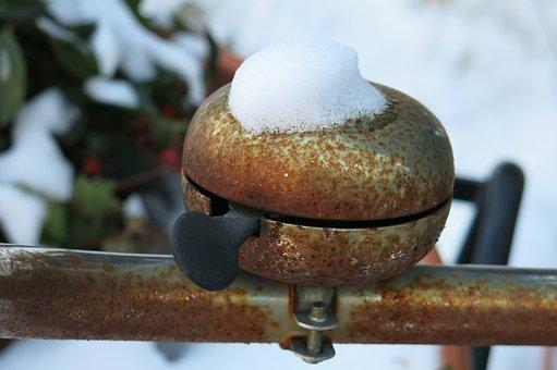 Bike Bell, Old, Rusty, Snow, Cemetery, Memory